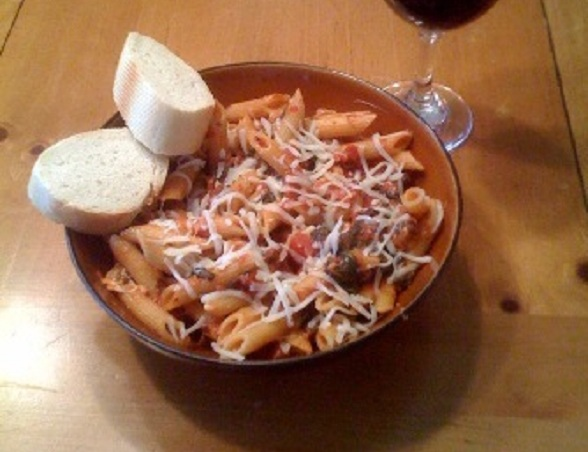 Penne with Tomato Spinach and Sausage