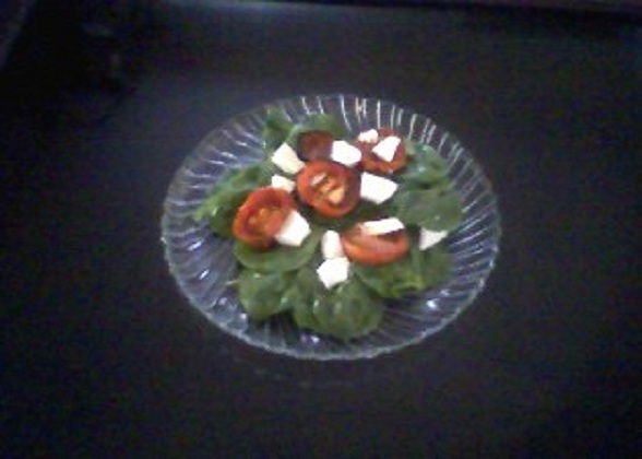 Oven Roasted Tomato and Spinach Salad
