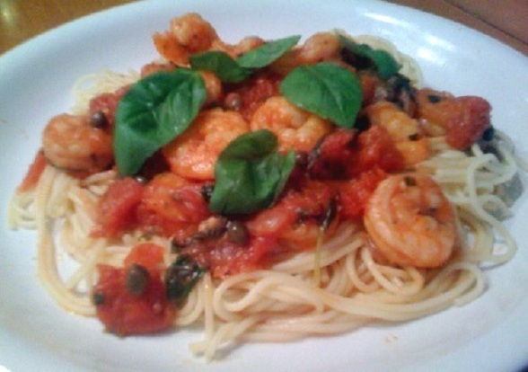 Spaghetti with Shrimp and Capers