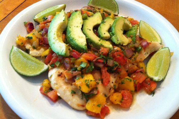 Chicken with Mango Salsa and Avocados