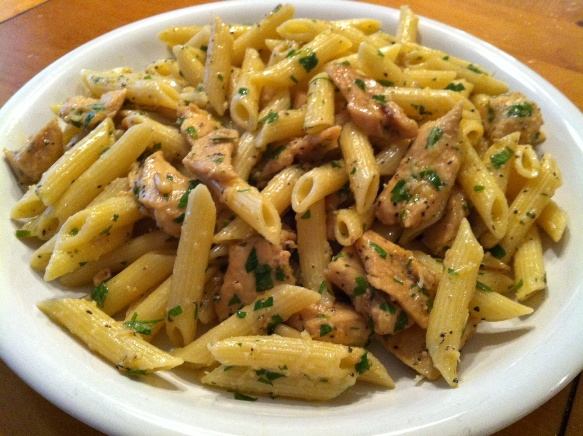 Lemon Chicken Pasta with Toasted Pine Nuts