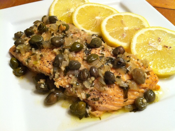 Baked Salmon with Lemon Butter Sauce and Capers