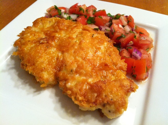 Parmesan Crusted Chicken with Tomato Basil Salsa Recipe | Feature Dish