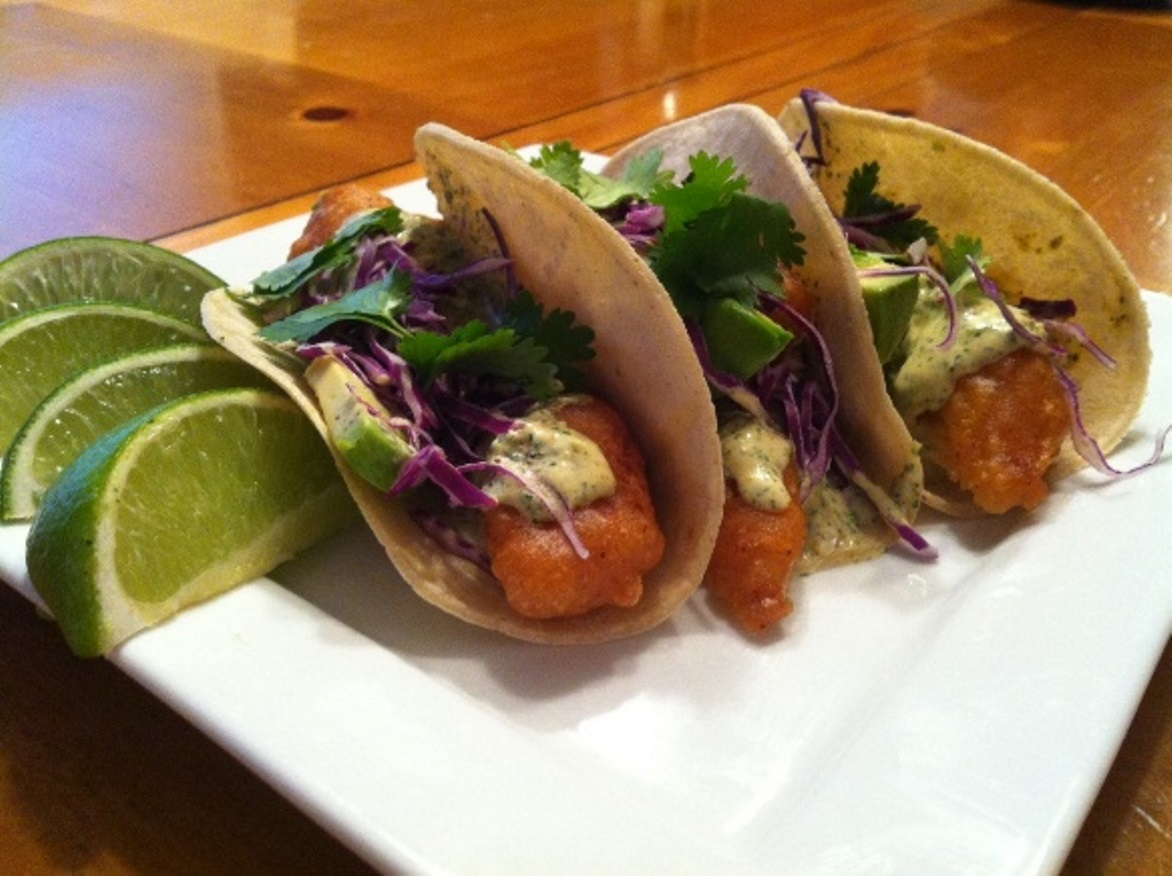 Crispy fish tacos with cilantro cream sauce feature dish for Sides for fish tacos