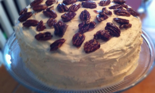 Homemade Chocolate Cake with Salted Caramel Frosting and Candied Pecans