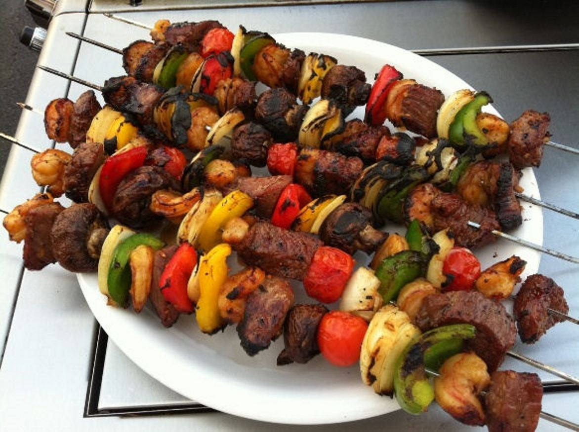 Grilled Steak And Shrimp Kabobs Recipe Feature Dish